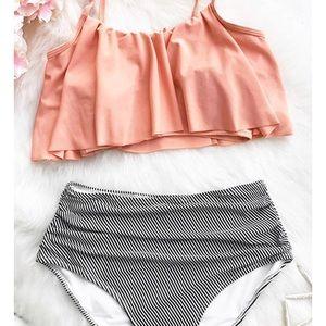 3f1265251f Cupshe Swim   Seaside Gale Falbala High Waisted Bikini   Poshmark